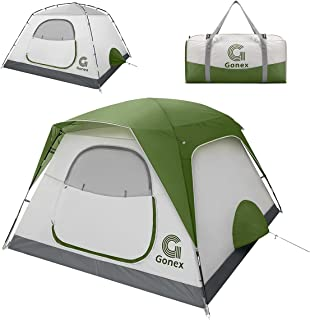 Gonex キャンプ テント 3~4人 防水 ファミリー テント 軽量 両開き式 2WAY 通気 設営簡単 コンパクト ドームテント 防風 防災 説明書付き