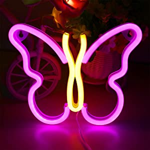 Butterfly Neon Signs Pink/Warm White Lights for Wall Hanging, USB or Battery Night Light for Dorm Living Rome Home Bedroom,Cute Decor for Christmas Birthday Party Kawaii Gift for Girls,Kids,Mom