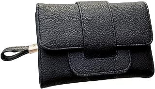 Pusaman Women's Triple Short of The Purse, Small Fresh Students Multifunction Zipper Wallet (Color : Black, Size : 14 * 11 * 3CM)