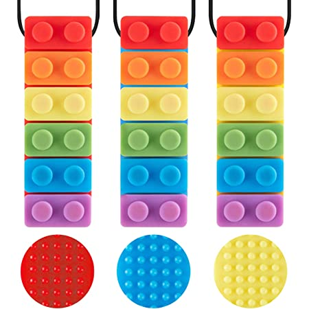 3 Pack Sensory Chew Necklace for Kids Toddlers with Autism ADHD,Biting Needs,Oral Motor Chewy Stick,Teether Toys for Autistic Chewers,Gum-Friendly