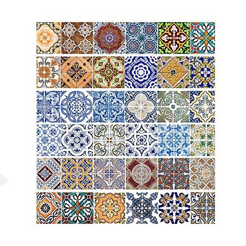Pegatinas de escalera de azulejos vintage Pegatinas Simulación de pelado Pegatinas de escalera de pared de azulejos vintage para decoración del hogar,Mural de escaleras a prueba de agua,(Juego de 6)