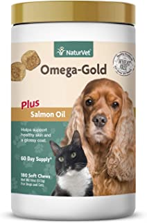 NaturVet – Omega-Gold Plus Salmon Oil – Supports Healthy Skin & Glossy Coat – Enhanced with DHA, EPA, Omega-3 & Omega-6 – for Dogs & Cats