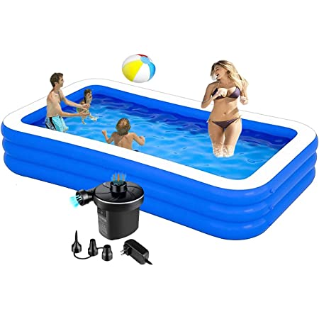 Swimming Pools Above Ground Inflatable 10ft 120x72x22in Kids Pools Inflatable Swimming Pool With Pump Piscinas Para Adultos Inflatable Pool For Adults Kiddie Baby Toddler Backyard Kitchen Dining