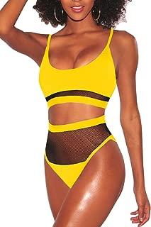 Women's Sexy 2 Pieces Bikini Set High Cut Cheeky Swimsuit Swimwear