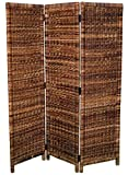 BIRDROCK HOME 3 Panel Seagrass Room Divider - Folding Sections - Partition Screen - Handwoven Abaca - Home Decor