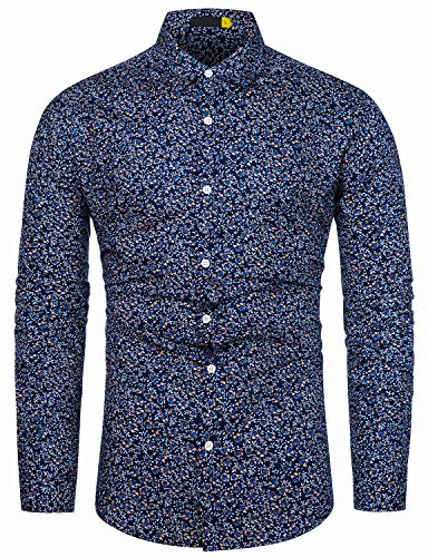 fohemr Herren Hemd Langarm Baumwolle Blumen Druck Freizeithemd Langarmhemd Regular Fit Shirts Navy Geblümt Druck Medium