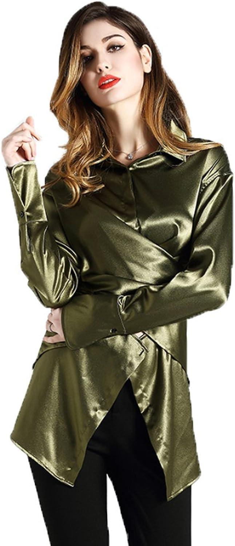 EORISH Women's Casual Long Sleeve Silk Shirt Solid color Button Down Long Blouse