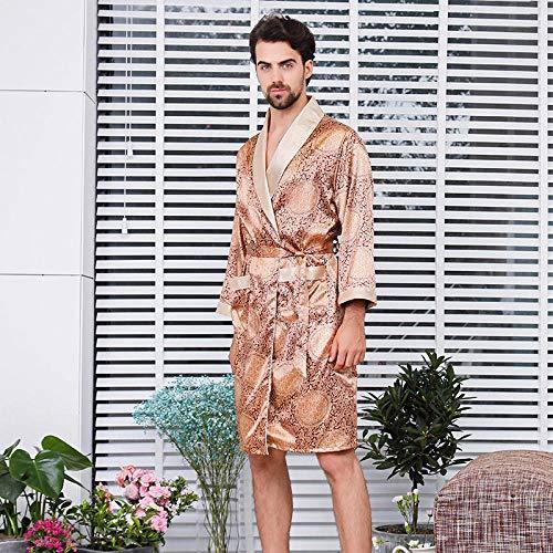 Accappatoi da Uomo Abito da Uomo Estivo Camicia da Notte Kimono in Raso Accappatoio Pezzo da Notte Casual Stampa Oro Vestaglia per La Casa C 4XL