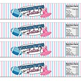 21 Touchdowns or Tutus Waterproof Self-Adhesive Water Bottle Labels - Football Gender Reveal - Pink and Blue