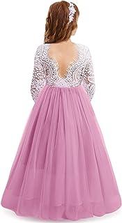 OBEEII Girls Lace Party Dress Flower V Backless Ruffle Tutu Maxi Gown Birthday Wedding
