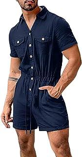 babao Men Short Sleeve Overalls Drawstring Onesies One Piece Romper Jumpsuit