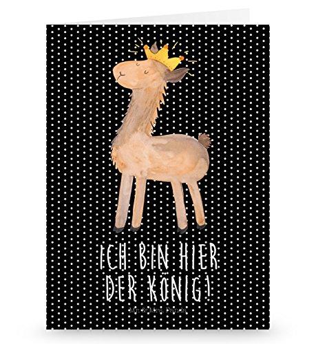 Mr. & Mrs. Panda Grußkarte Lama König - Lama, Lamas, König, Königin, Freundin, Mama, Papa, Büro Kollege, Kollegin, Chef, Vorgesetzter, Abi, Abitur Grusskarte, Klappkarte, Einladungskarte, Glückwunschkarte, Hochzeitskarte, Geburtstagskarte
