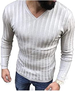 neveraway Men's Plus-Size Casual V Neck Solid-Colored Long Sleeve Shirt Top