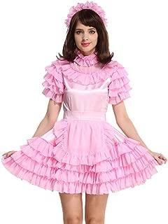 Sissy Lockable Maid Light Pink Stain Dress Uniform Costume