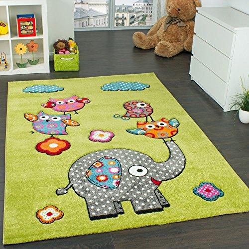 Paco Home Tappeto per Bambini con Elefante Gufi Fiori Amici Animali Verde Rosso Grigio Blu, Dimensione:80x150 cm
