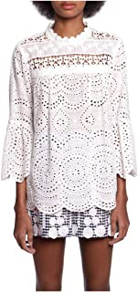 Anna Sui White Eyelet Collage Bell Sleeve Top