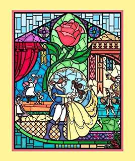 Beauty and The Beast Stained Glass Fabric Panel by Springs Creative and Licensed by Disney 36