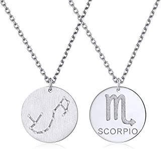 ChicSilver Constellation Necklace Pendant 925 Sterling Silver/18K Gold Plated Astrology Horoscope Zodiac Round Disc Necklace 18
