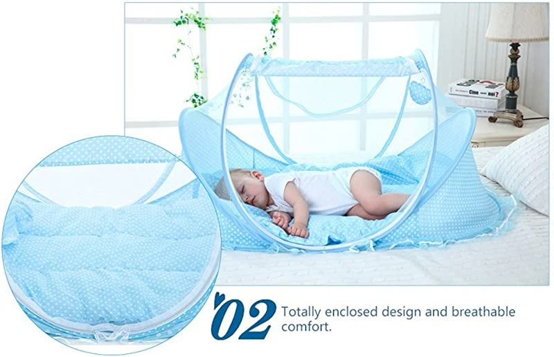 Baby Travel Bed Portable Baby Travel Tent Baby Mosquito Net Portable Baby Cots For 0 15 Month Baby Blue