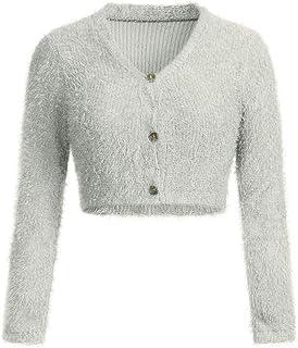 VJGOAL Mujer Otoño e Invierno Moda Casual Color sólido Cuello en v Manga Larga Cardigans Peludos con botón Sexy suéter Cor...