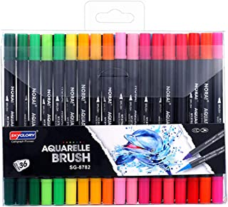 36 Colors Dual Tips Brush Art Marker Pens Set Fine Round & Brush Tip Water Soluble for Children Adults Artist Drawing Pain...