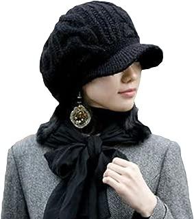 LOCOMO Hats Locomo Men Women Boy Girl Slouchy Cabled Pattern Knit Beanie Crochet Rib Hat Brim Newsboy Cap Warm FAF026BLK Black