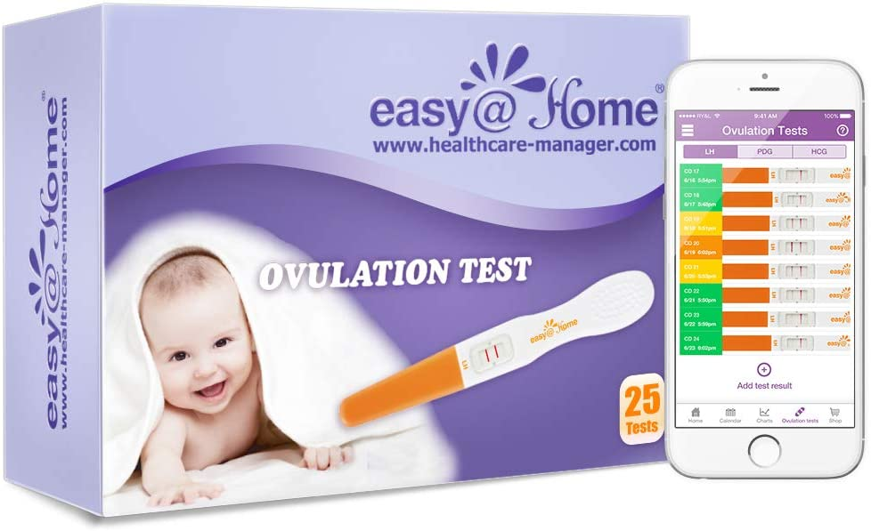 Easy@Home 25 Ovulation Predictor Kit Test Sticks, FSA Eligible Midstream Fertility Tests, Powered by Premom Ovulation Predictor App and Period Tracking