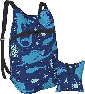Mochila ligera con diseño de delfín de sirena, plegable, impermeable, para hombres y mujeres