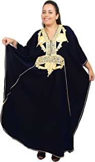 Moroccan Caftan Women Plus size Hand Made Caftan with Embroidery XXL to 4XL Black