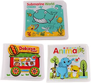 HOMYL Set of 3 EVA Waterproof Bath Book, BathTime Fun Educational Toys for Baby Toddlers