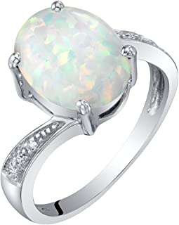 14K White Gold Diamond and Genuine or Created Gemstone Solitaire Ring Oval Shape Sizes 5 to 9