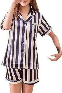 Striped Print Two-Piece Set,Blazer Top with Shorts Set,Satin Pajamas Sleepwear Nightwear,Outfit,Bathing Suit Tigivemen