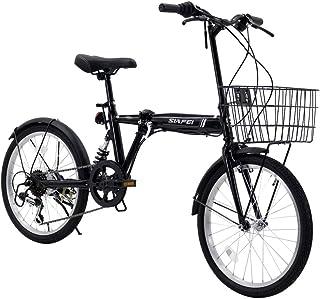折りたたみ自転車 小径車 20インチ シマノ6段変速 サスペンション付き 折り畳み自転車 ワイヤ錠・LEDライトのプレゼント付き 前後泥除け装備 自転車 ハンドルの高さ調節できる