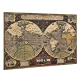 Unbekannt [Art. Work] Pared Imagen sobre Lienzo Enmarcado 80x 120cm Mapa del Mundo