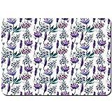 MAYUES Alfombrilla De Baño Antideslizante Plantas botánicas Belleza Flores exóticas Violetas Campani...