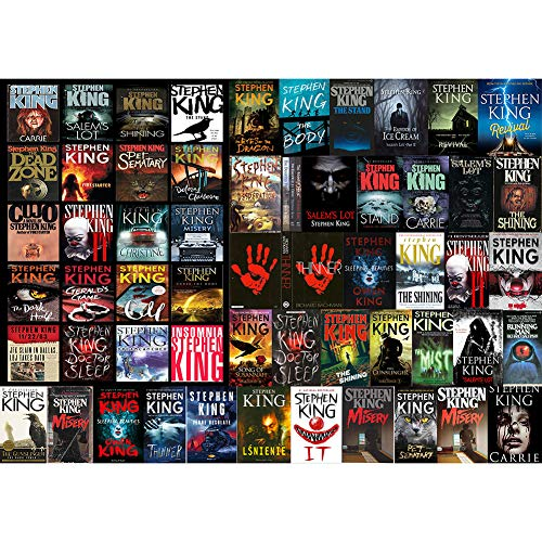Stephen King Horror Novel Collage - 1000 Pieces Jigsaw Puzzle for Adults Premium Quality Recycled Material Jigsaw Puzzle Intense Colors and High Definition Printing Hobby Puzzles Toy