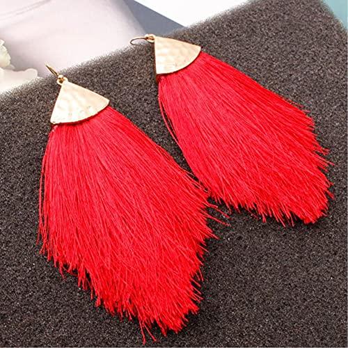 HBWHY Pendientes de borla para mujer, con punta de pluma, borla de seda, cadena larga, para el día de la madre, color rojo