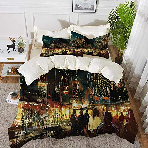 161 Night,Painting of Shopping Street City with Colorful Nightlife Abstract Brushstrokes Ar,Hypoallergenic Microfibre Duvet Cover Set 230 x 220cm with 2 Pillowcase 50 X 80cm