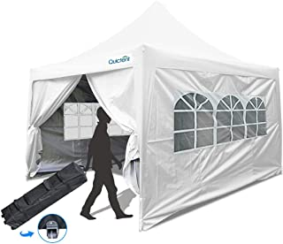 Quictent 10x10 ft EZ Pop Up Canopy Tent Waterproof Commercial Gazebo Party Tent Portable Pyramid-roofed with 4 Removable Sides & Roller Bag (White)