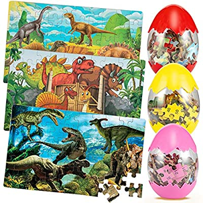 3 Pack Dinosaur Puzzles, Kids Puzzles Dinosaur Egg Puzzles 60 Piece Wooden Puzzles for Kids Ages 3-5/4-8/8-12 Kid Dino Puzzle Boys Girls Gift