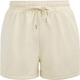Hanna Nikole Womens Plus Size Drawstring Elastic Waist Beach Shorts with Pockets