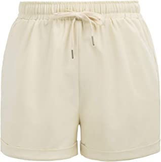 Hanna Nikole Womens Plus Size Drawstring Elastic Waist Beach Shorts with Pockets