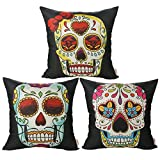 Luxbon Set of 3 Pcs Day of the Dead Mexico Fiesta Kitsch Candy Skull Cushion Cover Black...