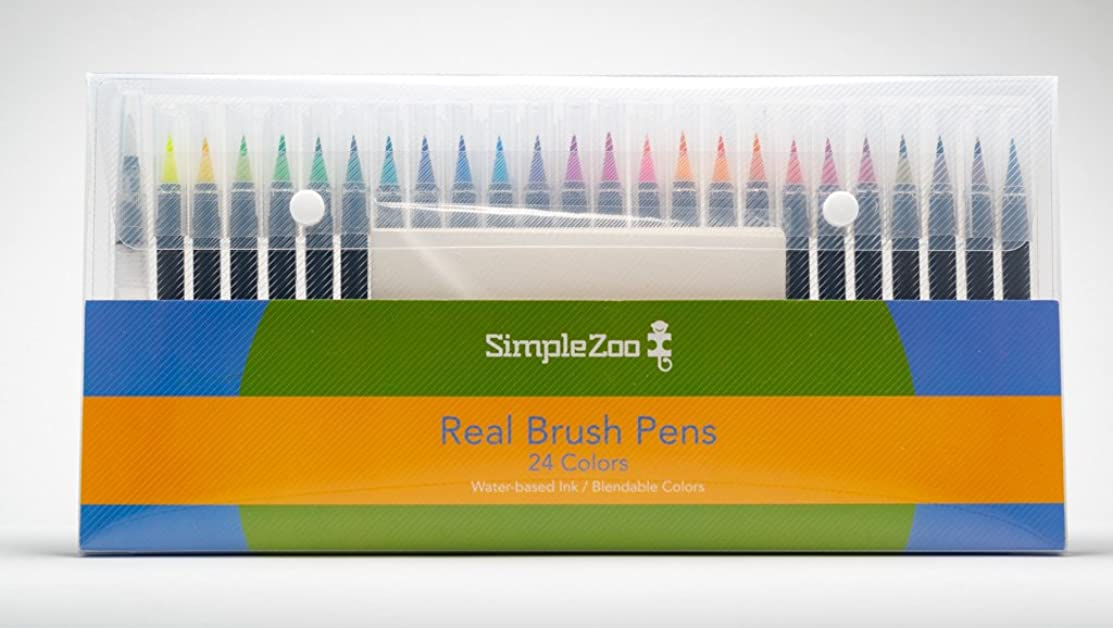 Real Brush Pens, 24 Professional Watercolor Pens for Painting with Flexible Nylon Brush Tips, Paint Markers for Coloring, Calligraphy, Lettering and Drawing with Water Brush - Drawing Paper Included