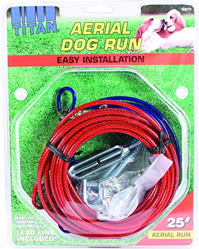Coastal Pet Products DCP89070 Steel Titan Aerial Dog Run Cable Trolley System with Brass Plated Snaps, 25-Feet, Red