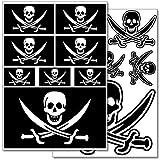WANDKINGS Piraten Flagge Wandsticker Set, 14 Aufkleber, 2 DIN A4 Bögen, Gesamtfläche 60 x 20 cm