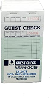 Guest Check PKG-CT-G3616 Single Part Bond, Perforated, Green, 3.4