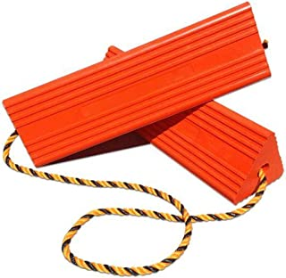 BUNKERWALL Industrial Rubber Wheel Chock Blocks with Rope - High Visibility Orange - 9.6