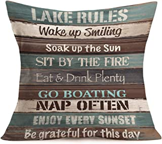 Asminifor Pillow Covers Retro Colorful Wood Grain Background Style with Lake Rules Cotton Linen Throw Pillowcase Personalized Cushion Cover for Home Sofa Office Decorative Square 18