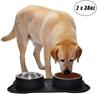 Easeurlife Large/Medium Dog Bowl Stainless Steel No Spill/Non-Skid Silicone Mat Double Pet Bowls Set for Large/Medium Dogs, Black